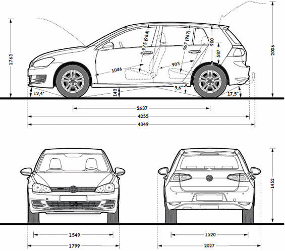 Volkswagen Golf wymiary